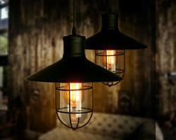Mẫu đèn nào được sử dụng để trang trí quán cà phê phong cách Industry