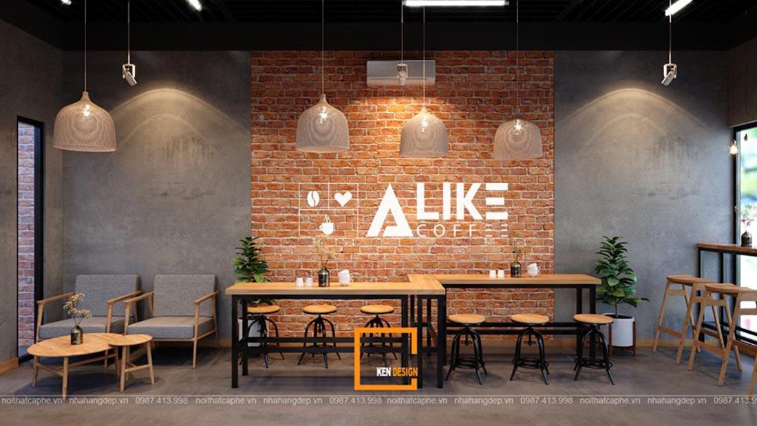 Bản vẽ 3D thiết kế quán A LIKE COFFEE Bắc Ninh – Hiện đại, đẹp xinh gây thương nhớ