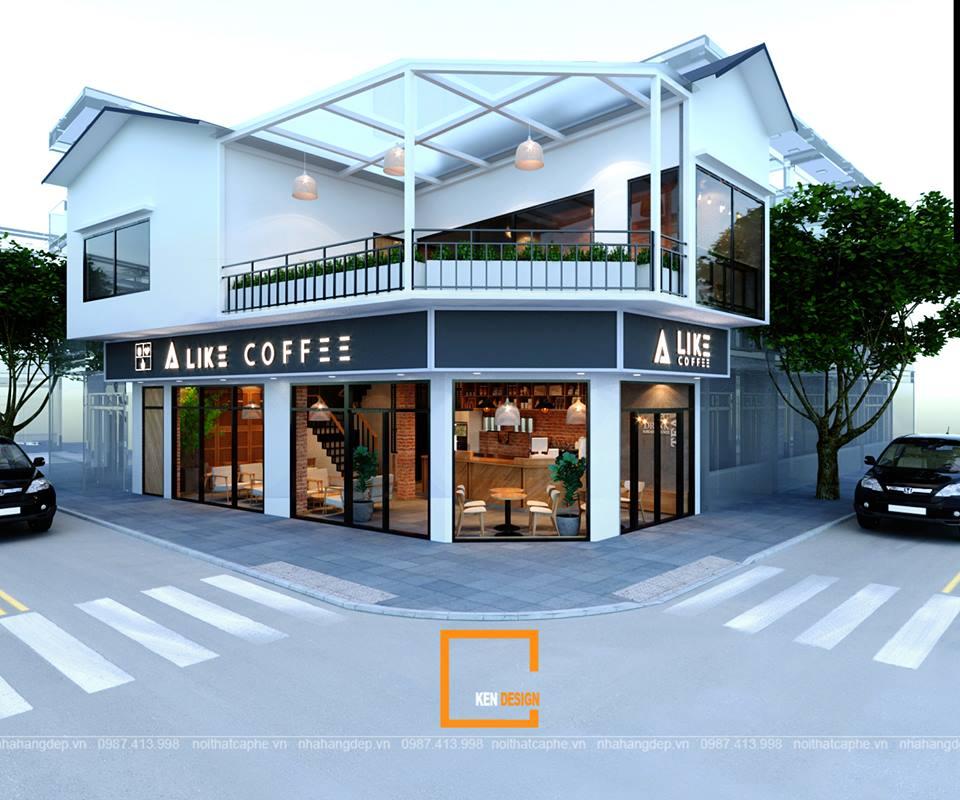 Thiết kế quán cafe 2 tầng tinh tế, nổi bật