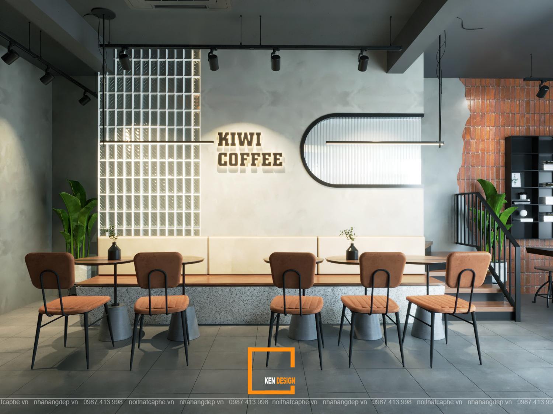 Thiết kế quán cafe shophouse Kiwi Coffee - Nét phá cách hiện đại